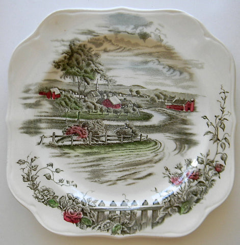 Vtg Square Brown Transferware Plate The Road Home Red Barn Church Pastoral Scenery