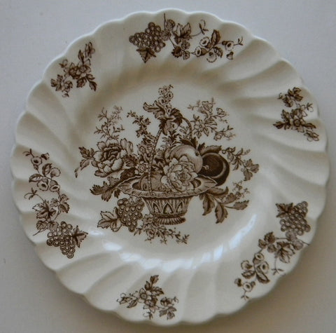 Vintage English Brown and White Transferware Plate Bountiful  Victorian Basket of Fruits and Flowers