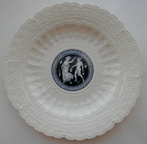 Vintage Dark Blue Transferware Plate Spode Jewel Exquisite Lace Border Greek Roman Etruscan Couple