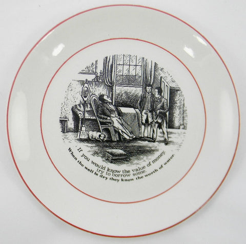 "James Kent ""Old Foley"" The Way to Wealth - Value of Money Wise Sayings Black Transferware Plate 1"