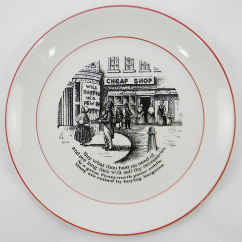 "James Kent ""Old Foley"" The Way to Wealth - Wise Sayings Black Transferware Plate 2"