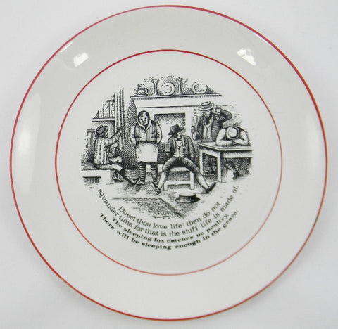 "James Kent ""Old Foley"" The Way to Wealth - Wise Sayings Does Thou Love Life Black Transferware Plate 4"