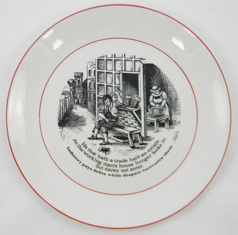 "James Kent ""Old Foley"" The Way to Wealth - Wise Sayings Black Transferware Plate 5"