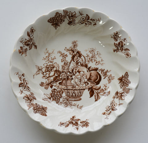 Brown Toile Vintage English Transferware Candy Bowl Bountiful Victorian Basket of Fruits and Flowers