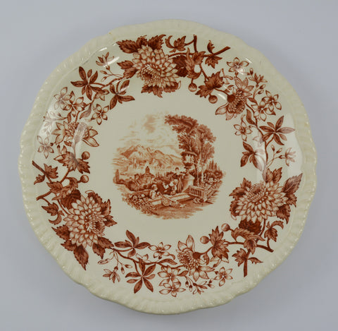 "Vintage Spode Aster Brown Transferware 8"" Salad Plate Copeland Beverley Italian Countryside"