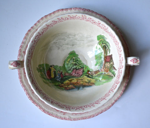Vintage English Pink Transferware Cream Soup Bowl & Plate Royal Doulton Chatham