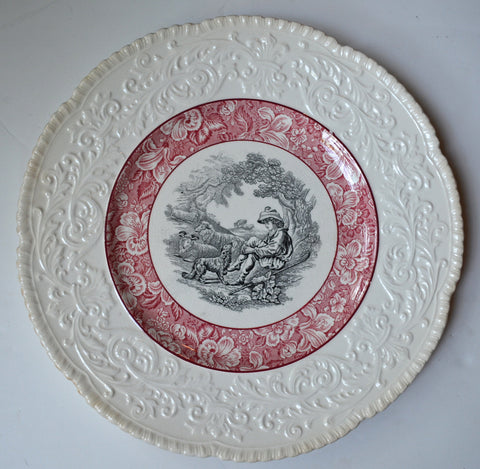 Circa 1930 Red & Black Two Color English Transferware Charger Round Platter Shepherd Boy and Sheep Embossed Border