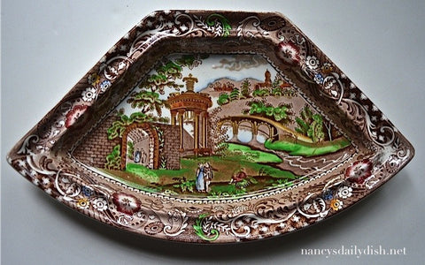 Colorful Brown English Transferware Chinoiserie Unusual Shap Platter Tray Gazebo Hand Painted