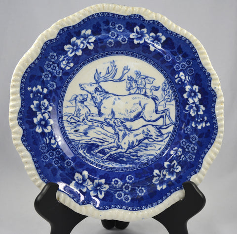 W T Copeland Antique Blue Transferware Spode Tower Game Plate Hunt Scene Stag Dogs Reindeer