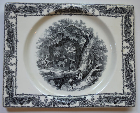 Rectangle Black Transferware Platter Biarritz Platter Tray Mother Children Dog Woodcutter Gardening