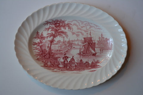 Safe Harbour Red Transferware Oval Serving Platter Ship Port Scene / Nautical Decor