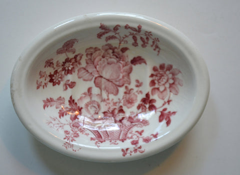 Red / Pink Ironstone English Transferware Soap Dish Charlotte Roses Flowers