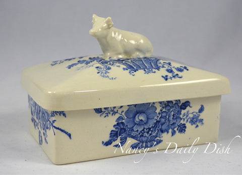 Figural Cow Topped Lidded Butter Box or Tea Caddy Charlotte Blue Transferware