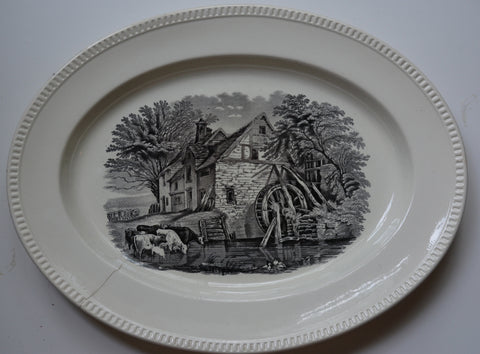 Antique Circa 1880s Copeland Spode BIG Black English Transferware Platter Duncan Rural Scenes - Grazing Cattle Water Mill Farm