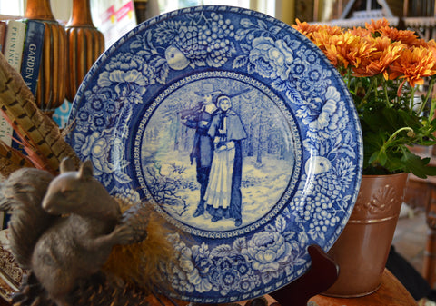 Antique Cobalt Blue Historical English Staffordshire Transferware Plate Pilgrim Couple / Thanksgiving China