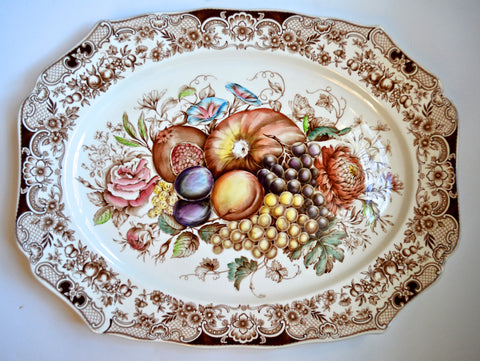 Huge Fruit Harvest Windsor Ware Platter pomegranate grapes etc Johnson Brothers