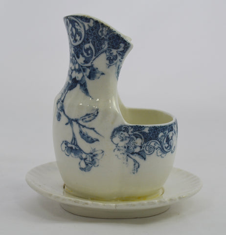 Antique English Staffordshire Flow Blue Transferware Scuttle Shaving Mug Cup George Jones