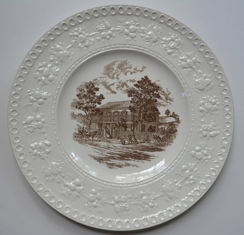 Brown English Transferware Charger Round Wedgwood Platter Greeley House Cottage Scenery Embossed Fruit & Flowers Border