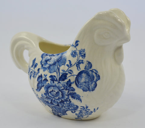 Vintage Blue Transferware Chicken / Nesting Hen Shaped Pitcher Creamer Charlotte Staffordshire