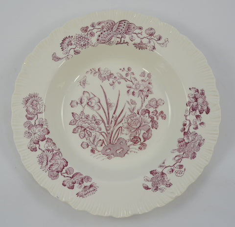 Wedgwood Purple / Plum Transferware Rimmed Soup / Salad Bowl Nautical Sea Shells & Botanicals