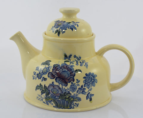Poly Blue Transferware Charlotte Teapot Tea Pot Victorian Basket of Roses