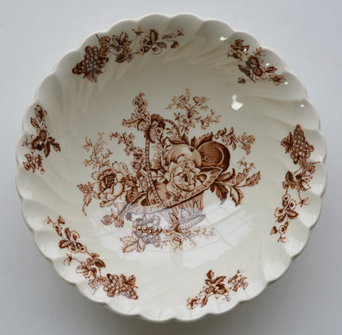 Brown Toile Vintage English Transferware Bowl Bountiful Victorian Basket of Fruits and Flowers