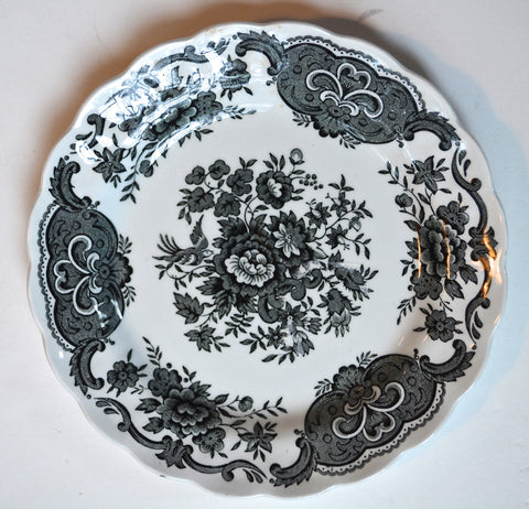 Ridgway Black English Transferware Toile Plate Roses Birds Windsor Asiatic Pheasants