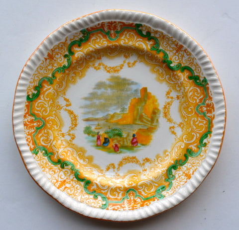 Spode Copeland Continental Views Yellow Transferware Plate Hand Painted