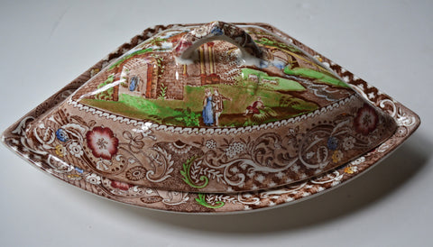 Brown English Transferware Chinoiserie Crescent Shaped Covered Dish Tureen Gazebo Hand Painted