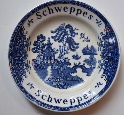Vintage Blue Willow English Transferware Advertising Dish Plate Schweppes Tonic Victorian China