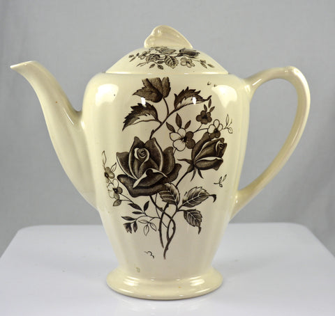 Dark Chocolate Brown Tudor Roses Rosebuds Vintage English Transferware Teapot Coffee Pot