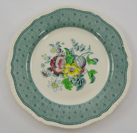 Green Transferware Plate Vintage Floral with Hand Painted Roses Ridgways