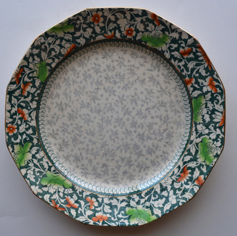 Teal Green & Gray English Two Color Transferware Plate Royal Doulton Chintz