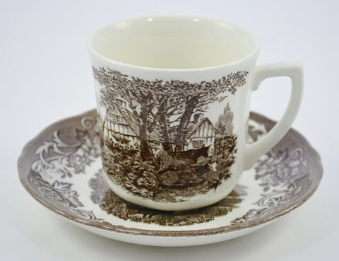 Romantic England by JG Meakin Brown Transferware Cup and Saucer Grazing Cattle Roses Thatched Cottage
