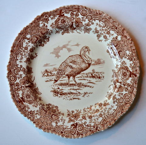 Antique Turkey Plate Brown Transferware Staffordshire China Thanksgiving Dinner Plate Tom Turkey  Ridgway  Staffordshire Beehive Stamp