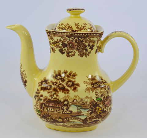 English Teapot Brown Polychrome Alfred Meakin English Transferware Tonquin Waterfall Swans Sailboat