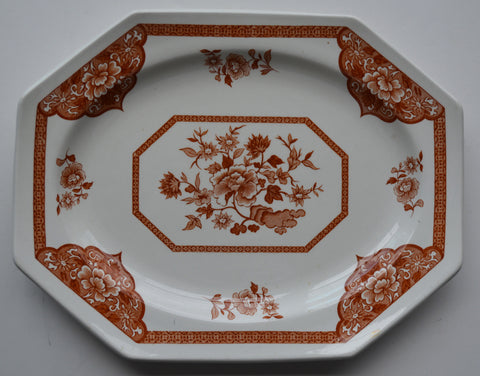 Rust Brown Transferware Octagon Shaped Tray / Platter Floral Chinoiserie Asian Toile