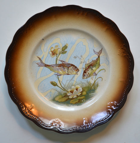 Brown Transferware Fish Plate Hand Painted Carp Lily Pad Aquatic Fishing Decor