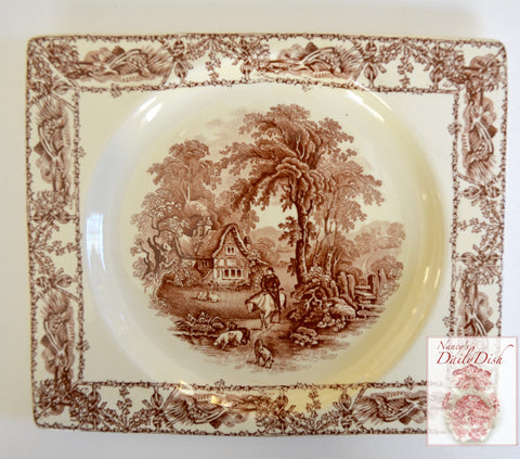 Rectangle Brown Transferware Platter Tray Biarritz A J Wilkinson Farm Horse Scene