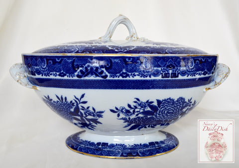 Antique Flow Blue Chinoiserie Copeland Spode Transferware Soup Tureen Circa 1876