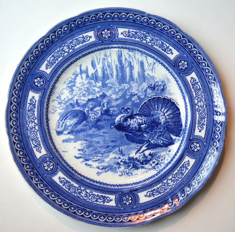 Antique Flow Blue Doulton Transferware Wild Turkey Plate Game Bird