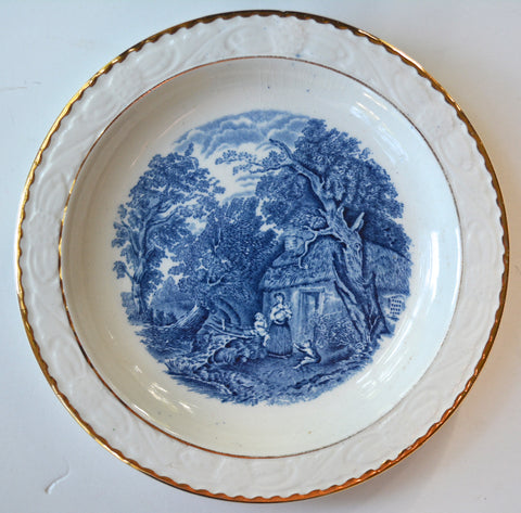 Vintage Blue & White Transferware Plate Mother Holding Infant Children Playing Alongside a Stream Gold Trim Roses