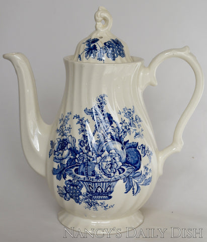 Vintage English Blue and White Transferware Teapot Coffee Pot Basket of Fruits and Flowers