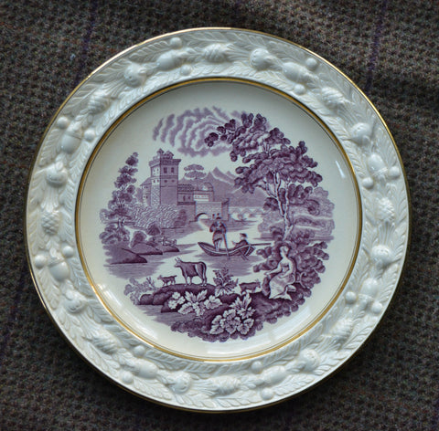 Aubergine Purple Transferware Dinner Plate Cow Goat Pastoral Italian Scenery Embossed Acorn Border