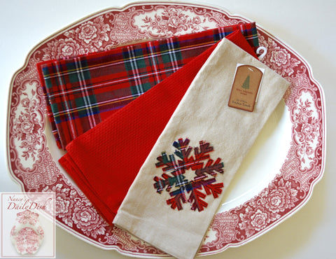 Snowflake Tartan Plaid Farmhouse Kitchen Dish Tea Towel Set of 3 Christmas