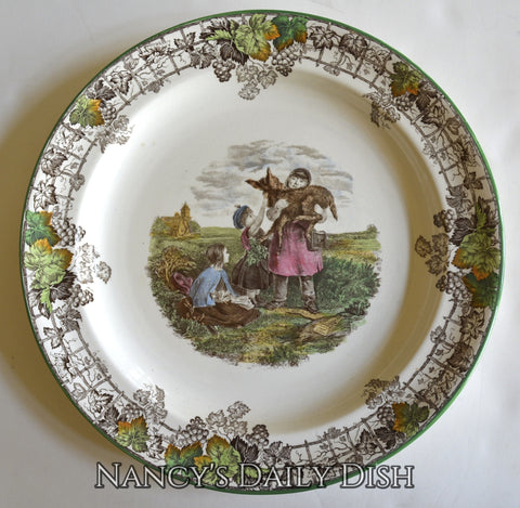 Spode Byron Brown Transferware Platter Chop Plate Pet of the Common - Children & Baby Donkey