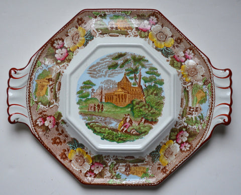 Antique Adams Octagonal Brown Polychrome Transferware Tab Handled Tureen Stand / Platter Italian Scenery