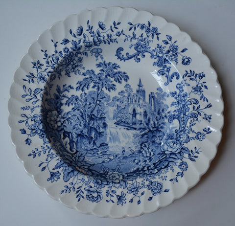 "Royal Staffordshire Peaceful Summer Waterfall Mountains Blue Toile Transferware Victorian Scrolls and Roses 8"" Bowl"