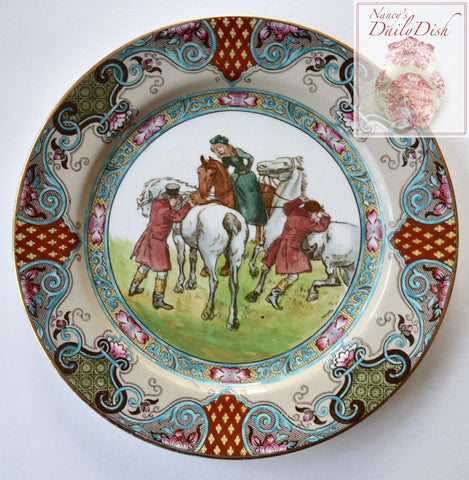 Circa 1905 Antique Royal Doulton Hugh Thomson Plate Female Equestrian - The Meet, Riders Mounting - Fox Hunt Scene English Staffordshire