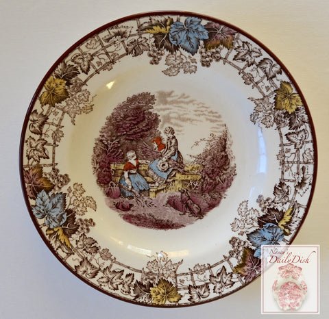 Spode Byron Brown Transferware  Plate Girls Gathering Wheat RARE COLOR Robins Egg Blue Burgundy and Gold
